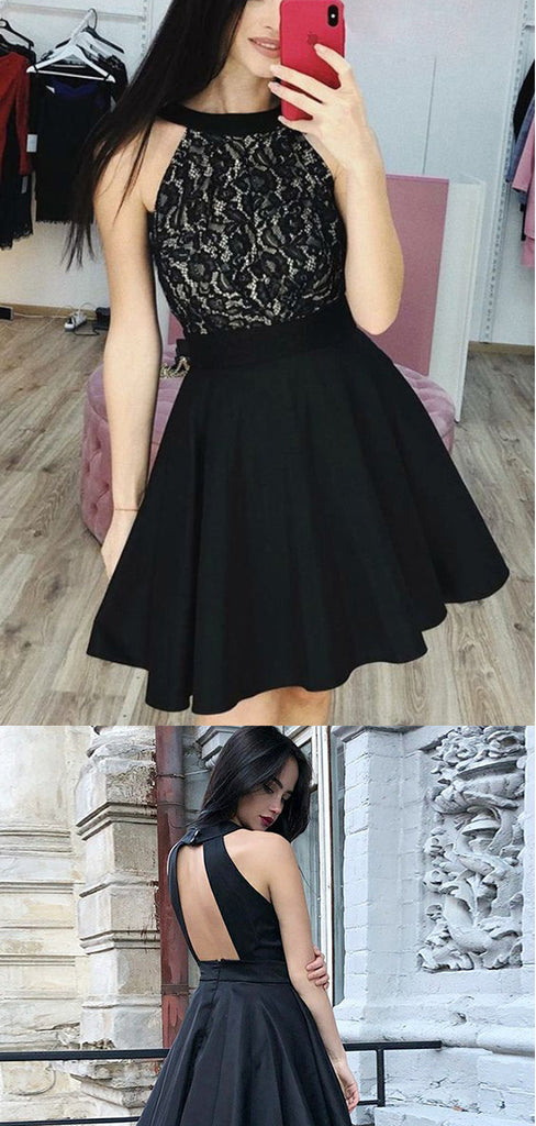 Black Round Neck Lace A Line Open Back Homecoming Dress M581 - Ombreprom