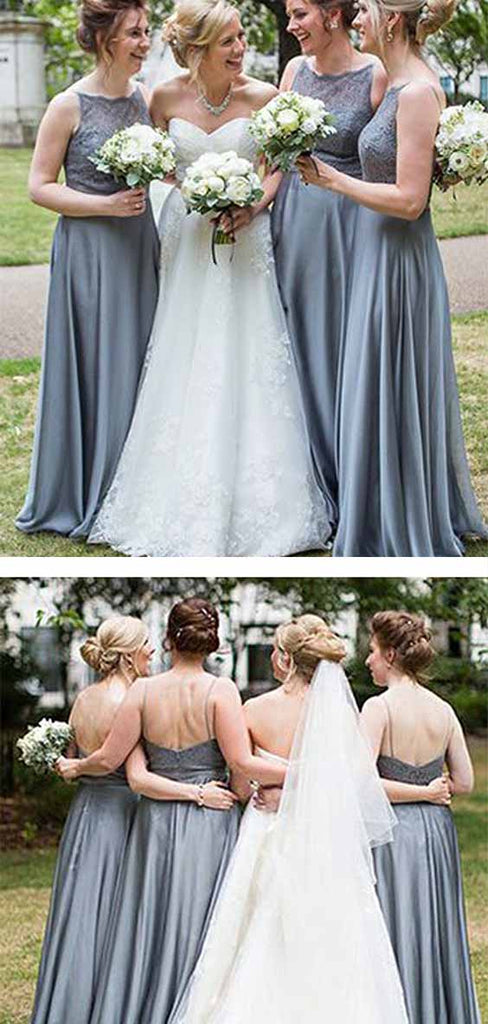 Delicate Grey Lace Spaghetti Straps Sleeveless Floor Length Bridesmaid Dress B394