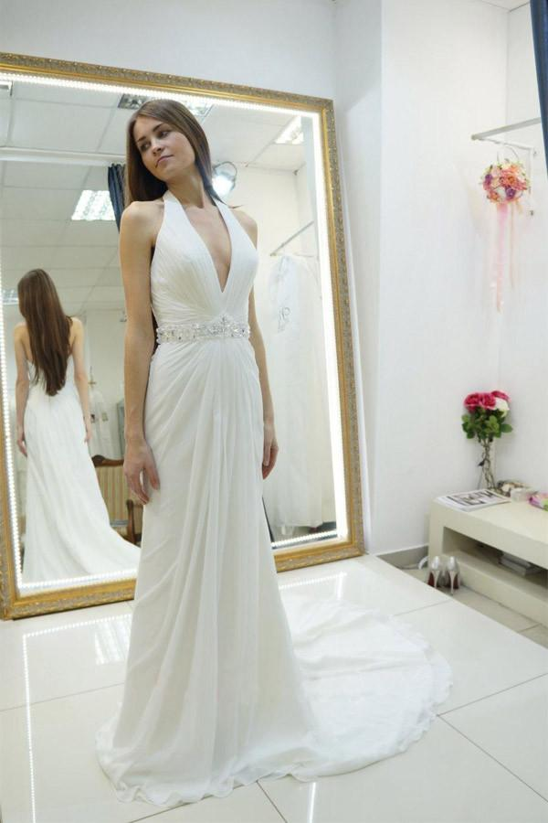 White A Line Court Train Halter Sleeveless Backless Cheap Wedding Gown,Beach Wedding Dress