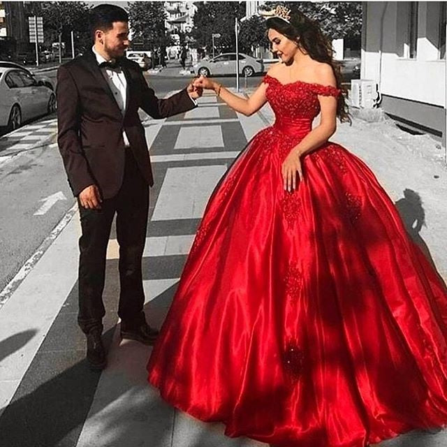 Stunning Off Shoulder Red Satin Lace Prom Dresses Ball Gowns with Appliques P917
