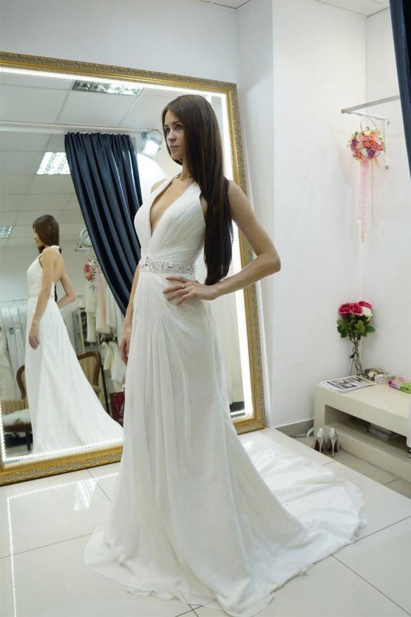 White A Line Court Train Halter Sleeveless Backless Cheap Wedding Gown,Beach Wedding Dress W156