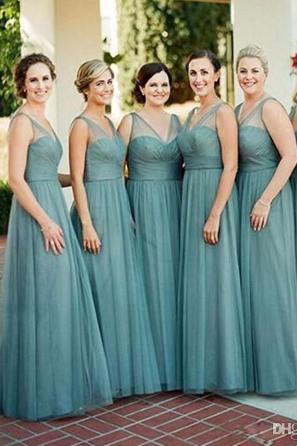 Chic V Neck Tulle Sleeveless Floor Length Bridesmaid Dress B405