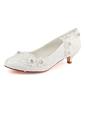 Charming Beading Close Toe With Lace Appliques Wedding Shoes S02 - Ombreprom