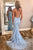 Chic Trumpet Spaghetti Straps With Lace Appliques Light Blue Prom Dresses P657