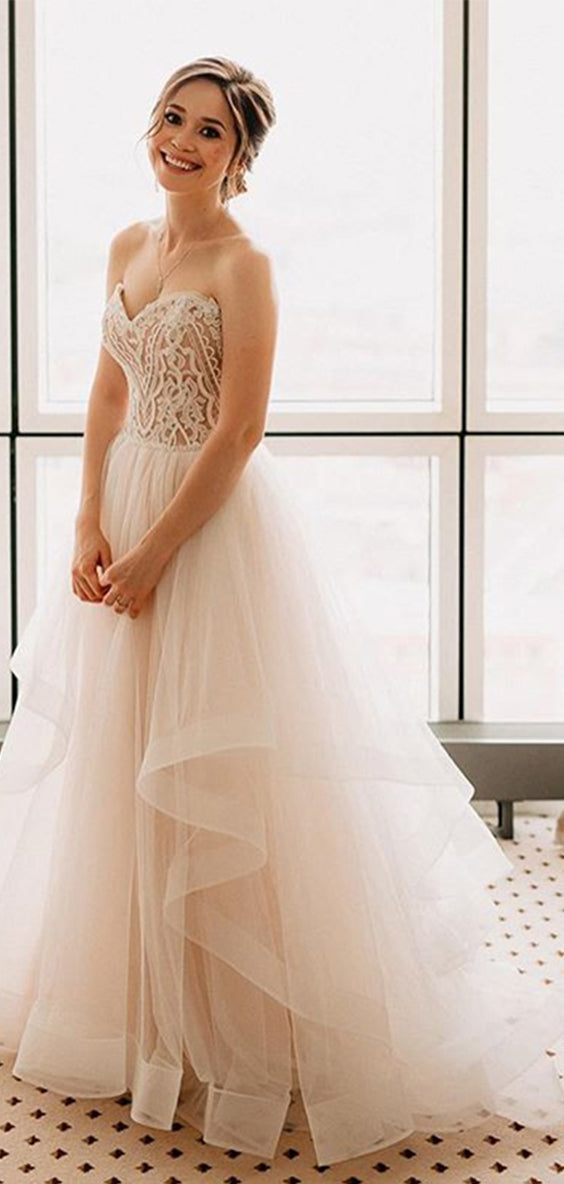 Delicate Sweetheart With Appliques Floor Length Wedding Dresses W347