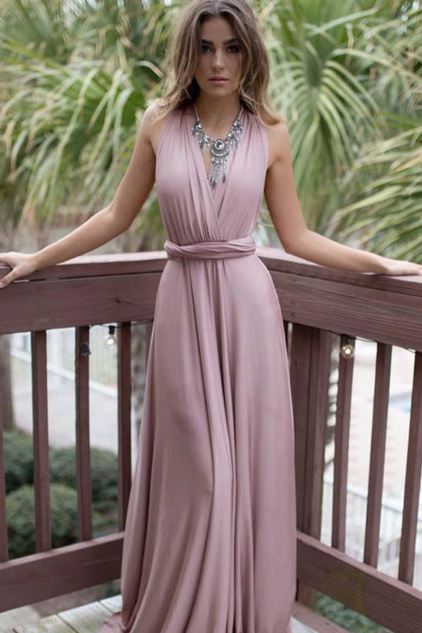 Pink V Neck Sweep Train A Line Backless Party Dress Bridesmaid Dress B463