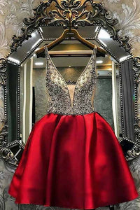 Red Homecoming Dress Short A-line V-neck With Beading M807