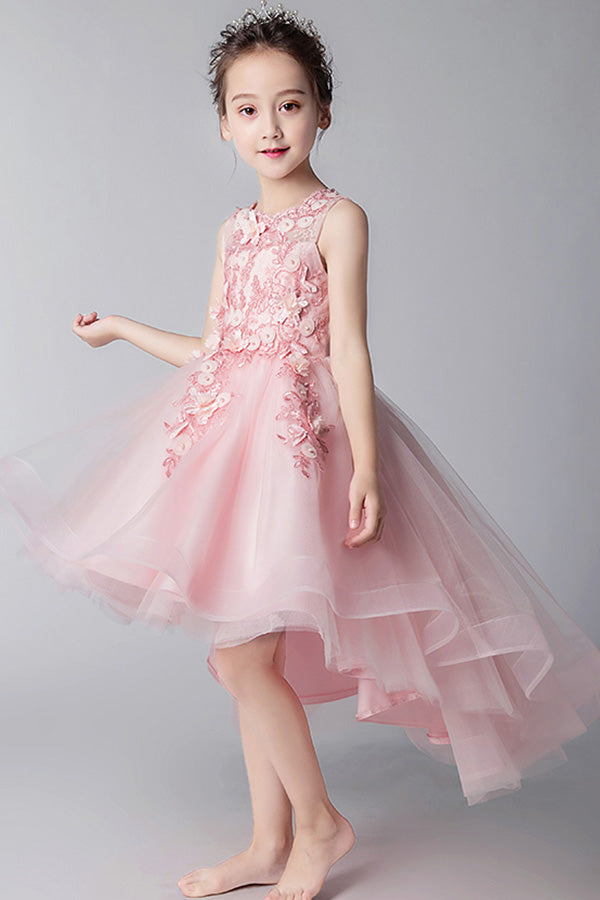 2d4dd1df2eb Elegant Round Neck High Low Sleeveless Tulle With Appliques Flower Girl  Dresses F78