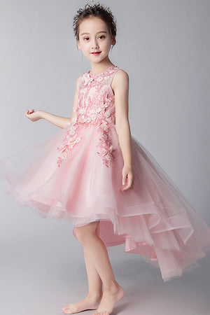 c83f7fc42 Elegant Round Neck High Low Sleeveless Tulle With Appliques Flower Girl  Dresses F78