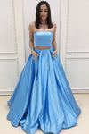 Simple Sweep Train Blue Two Piece With Pocket Satin Strapless Prom Dress P807