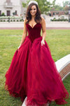 Chic Red Sweetheart Tulle A Line Ball Gown Prom Dress P679