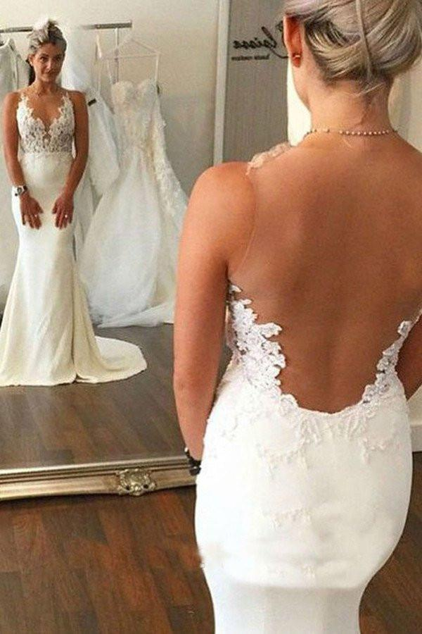 Sexy See Through Backless Lace Appliques Wedding Dresses W332