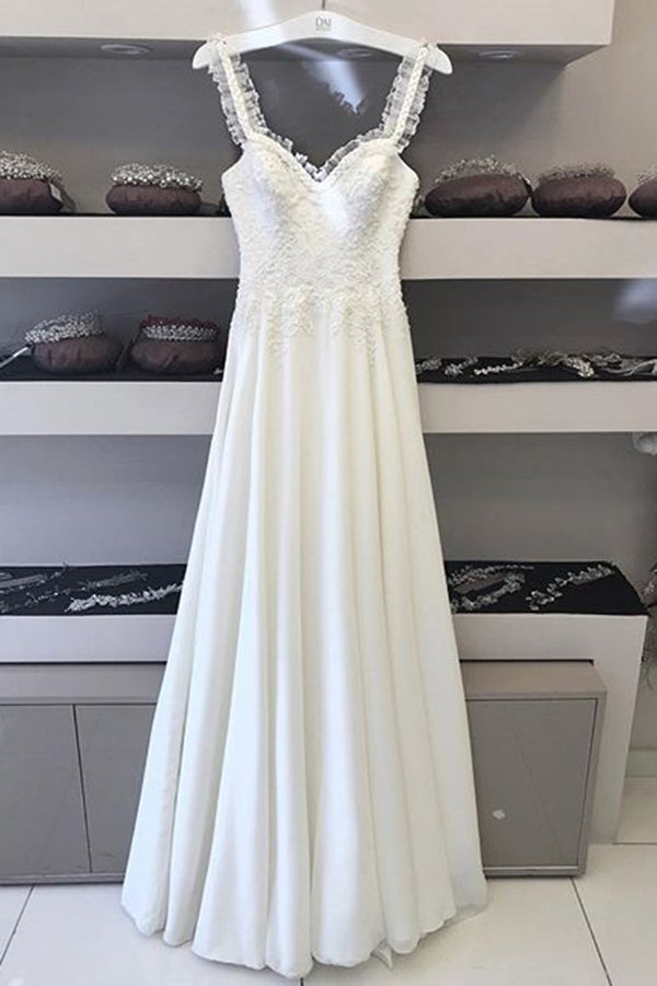 Simple Sweetheart Sleeveless Floor Length Lace Wedding Dresses W508