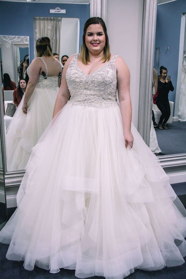 Gorgeous Plus Size V Neck Open Back Sleeveless With Beaded Wedding Dress W416