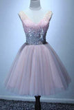 A-line V-neck Sequins Pink Short Graduation Dress, Cute Short Homecoming Dress M804
