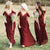 Burgundy Spaghetti Straps V Neck Chiffon Bridesmaid Dress B406 - Ombreprom
