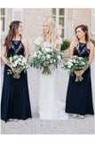 Chic Elegant A-line Navy Blue Lace Chiffon Long Simple Bridesmaid Dresses For Women B531