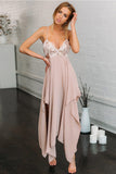 Simple Spaghetti Strap Sleeveless V Neck Chiffon With Sequins Prom Dress P793