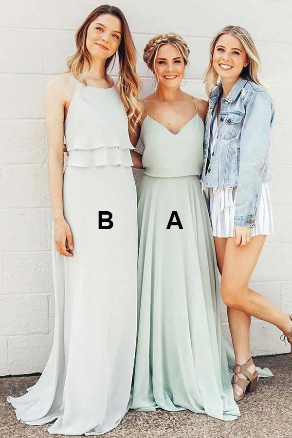 Simple Sleeveless Spaghetti Strap Sweep Train Bridesmaid Dress B412