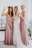 Spaghetti Straps Sleeveless V Neck Bridesmaid Dress B526