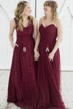 Impressive Sweetheart Tulle Floor Length Long Bridesmaid Dress B366