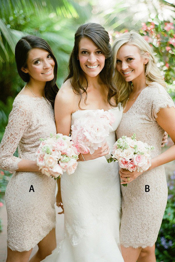 Charming Round Neck Lace With Appliques Bridesmaid Dress B416