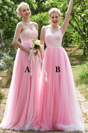 Luxury Sweetheart Pink Tulle Lace Appliques Bridesmaid Dress B417
