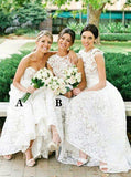 Elegant Sweetheart High Low Lace Appliques Bridesmaid Dress B415