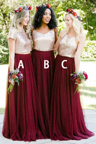 Stunning Two Piece Short Sleeves Burgundy Sequins Bridesmaid Dress B407
