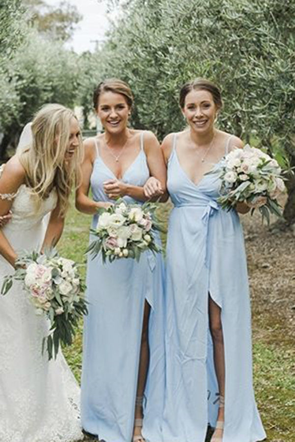 Simple Spaghetti Straps V Neck Sleeveless Bridesmaid Dress with Split Side B459