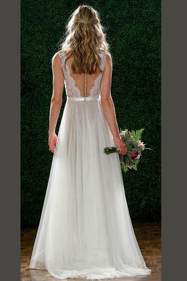 White A Line Brush Train Sleeveless Appliques Chiffon Wedding Dress,Beach Wedding Dress W211