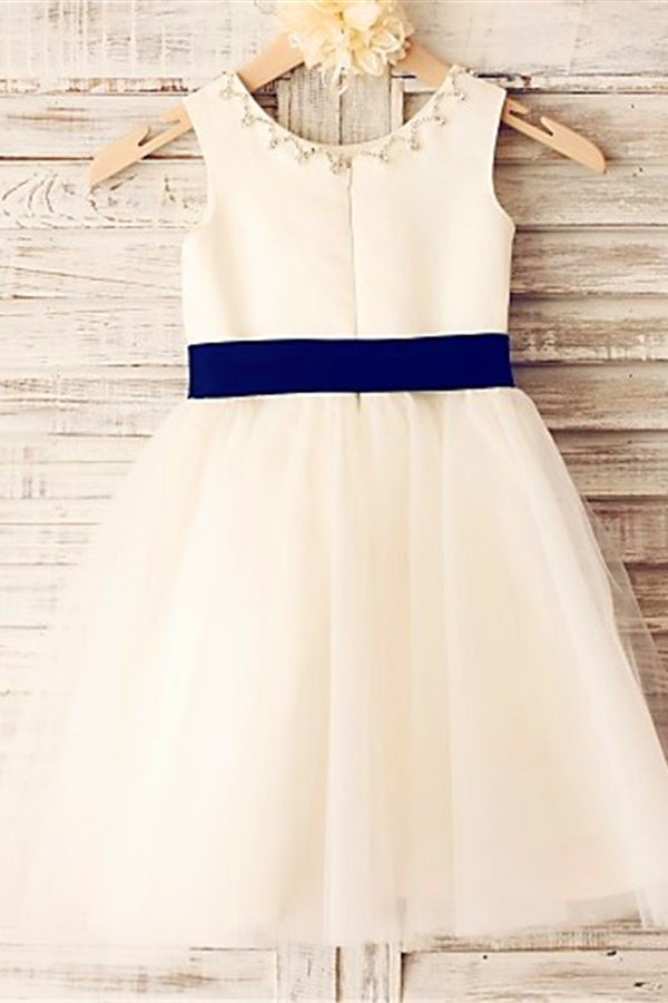 White A Line Floor Length Sleeveless Zipped Back Ribbon Flower Girl Dresses,Baby Dress F24