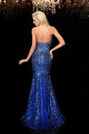 Blue Trumpet Brush Train Sweetheart Sleeveless Beading Sequins Prom Dress,Party Dress P369 - Ombreprom