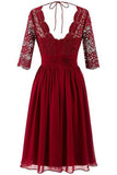 Burgundy A Line Knee Length V Neck 1/2 Sleeve Hollow Cheap Bridesmaid Dress B283 - Ombreprom