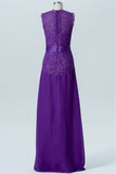 Royal Purple A Line Floor Length Jewel Neck Sleeveless Cheap Bridesmaid Dresses B157 - Ombreprom