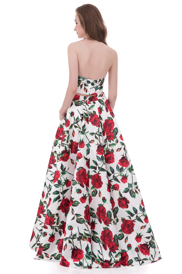 Two Piece A Line Floor Length Halter Sleeveless Floral Prom Dress,Formal Dress P277 - Ombreprom