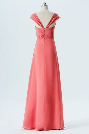Dusty Coral A Line Floor Length Sweetheart Capped Sleeve Open Back Cheap Bridesmaid Dresses B136