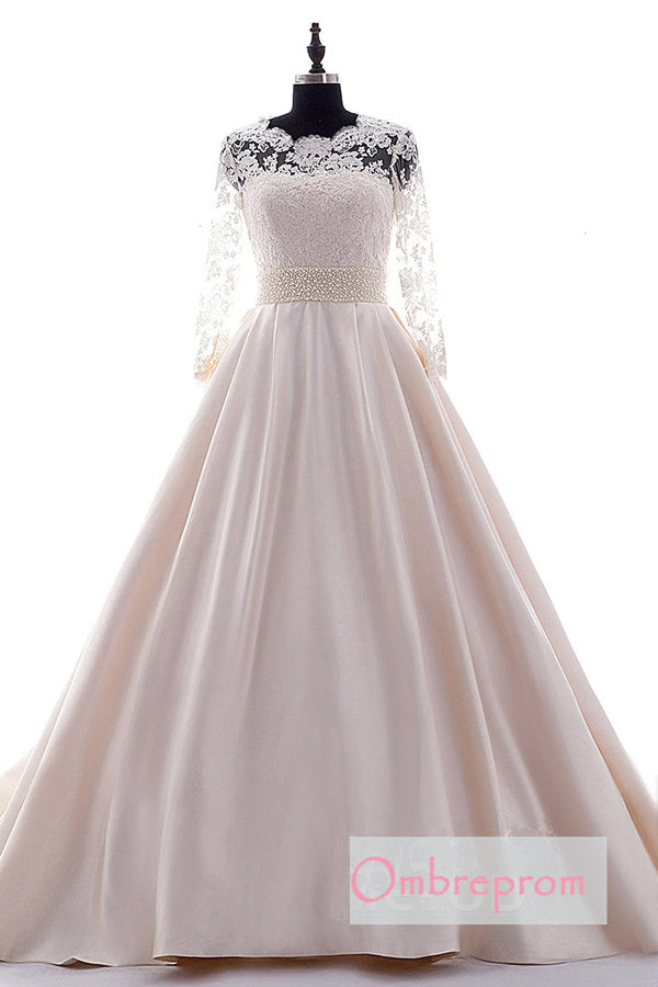A Line Chapel Train Long Sleeve Lace Beading Belt Wedding Gowns,Wedding Dress W267 - Ombreprom