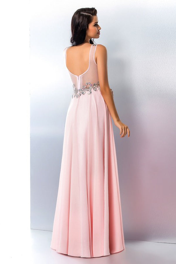 Pink A Line Floor Length V Neck Beading Sleeveless Chiffon Prom Dress,Party Dress P393 - Ombreprom