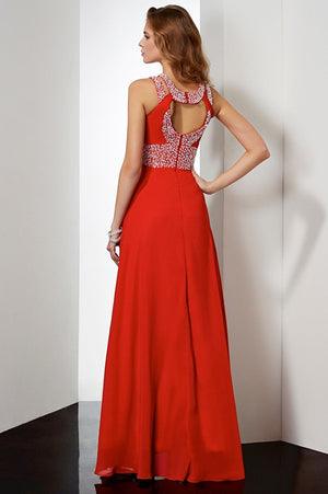 Red A Line Floor Length Halter Sleeveless Keyhole Back Beading Prom Dress,Formal Dress P281 - Ombreprom