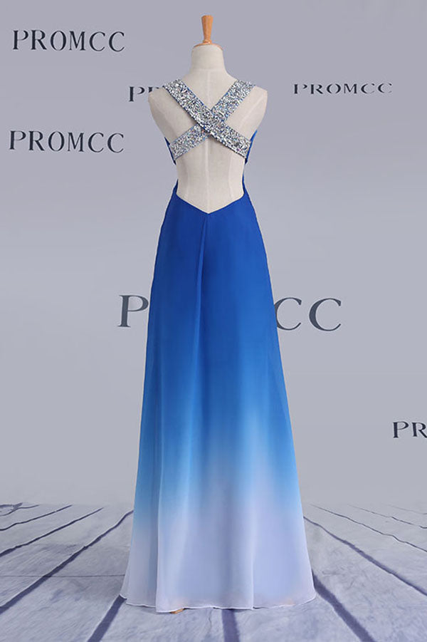 Ombre A Line Floor Length Sweetheart Sleeveless X Back Sparkle Prom Dress,Formal Dress O12 - Ombreprom