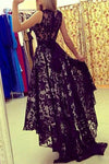 Black A Line Asymmetrical Brush Train Scoop Neck Sleeveless Lace Prom Dress,Party Dress P408 - Ombreprom