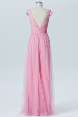 English Rose A Line Floor Length Sheer Neck Capped Sleeve Appliques Cheap Bridesmaid Dresses OB131