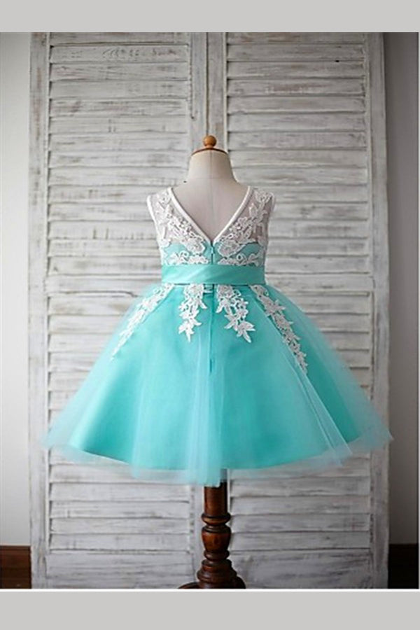 Green A Line Floor Length Sleeveless Bowknot Appliques Flower Girl Dresses,Baby Dress F15
