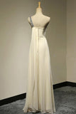 A Line Floor Length One Shoulder Sleeveless Beading Bridesmaid Dress, Wedding Party Dress B316