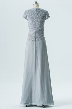 Storm Grey A Line Floor Length Capped Sleeve Lace Appliques Cheap Bridesmaid Dresses B191