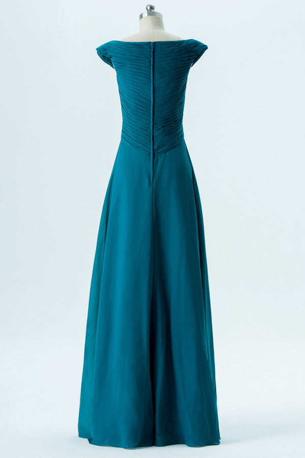 Winter Teal A Line Floor Length Capped Sleeve Chiffon Cheap Bridesmaid Dresses B145 - Ombreprom