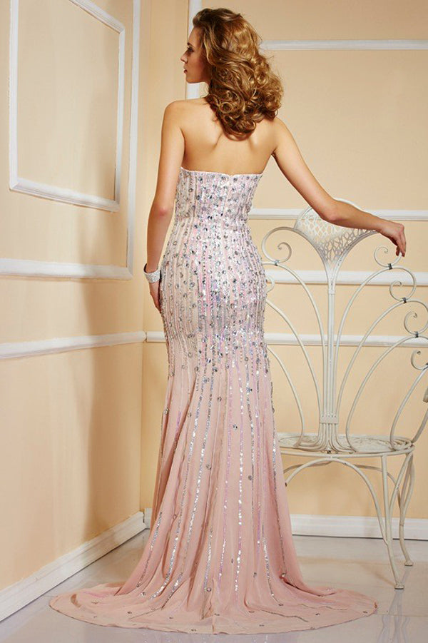 Pink Sheath Brush Train Sweetheart Sleeveless Sequins Beading Prom Dress,Party Dress P372 - Ombreprom