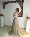 A Line Sweep Train Jewel Neck Long Sleeve Appliques V Back Evening/Prom Dress P58 - Ombreprom