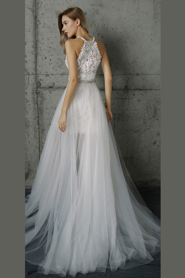 White A Line Sweep Train Halter Layers Tulle Appliques Wedding Dress,Beach Wedding Dress W202